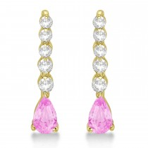 Pear Pink Sapphire & Diamond Graduated Drop Earrings 14k Yellow Gold (0.80ctw)