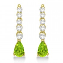 Pear Peridot & Diamond Graduated Drop Earrings 14k Yellow Gold (0.80ctw)