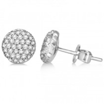 Diamond Accented Round Stud Earrings in 14k White Gold (0.25ct)