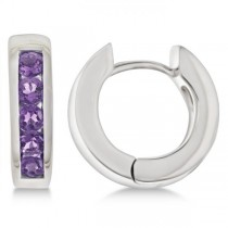 Purple Amethyst Hoop Earrings Channel Set Sterling Silver (0.70ct)