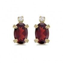 Oval Garnet and Diamond Studs Earrings 14k Yellow Gold (1.12ct)