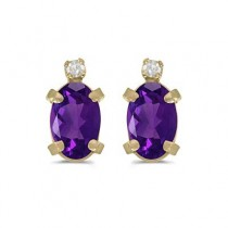 Oval Amethyst and Diamond Studs Earrings 14k Yellow Gold (0.90ct)