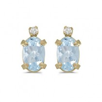 Oval Aquamarine and Diamond Studs Earrings 14k Yellow Gold (0.80ct)