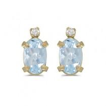 Oval Aquamarine and Diamond Studs Earrings 14k Yellow Gold (0.80ct)