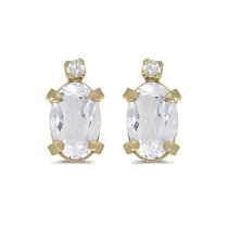Oval White Topaz and Diamond Stud Earrings 14k Yellow Gold (1.14ct)