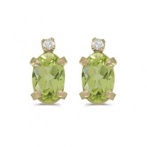 Oval Peridot and Diamond Studs Earrings 14k Yellow Gold (1.12ct)
