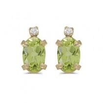 Oval Peridot and Diamond Studs Earrings 14k Yellow Gold (1.12ct)