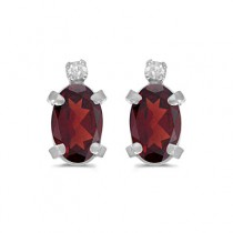Oval Garnet and Diamond Studs Earrings 14k White Gold (1.12ct)