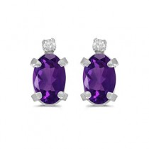 Oval Amethyst and Diamond Studs Earrings 14k White Gold (0.90ct)
