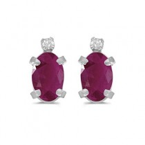 Oval Ruby and Diamond Studs Earrings 14k White Gold (1.20ct)
