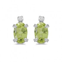 Oval Peridot and Diamond Studs Earrings 14k White Gold (1.12ct)