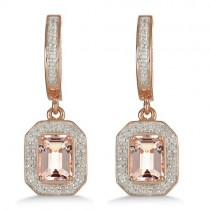 Morganite & Diamond Earrings 14k Rose over Sterling Silver (2.11ct)