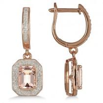 Morganite & Diamond Earrings 14k Rose over Sterling Silver (2.11ct)