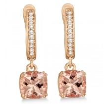 Morganite & Diamond Earrings Sterling & 14k Rose Gold Plating 2.63ct