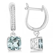 Cushion Cut Aquamarine & Diamond Drop Earrings Sterling Silver 2.63ct