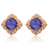 Diamond & Cushion Tanzanite Vintage Stud Earrings 14k Rose Gold 1.75ct