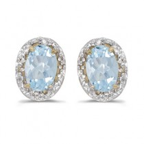 Diamond and Aquamarine Earrings 14k Yellow Gold (0.80ct)