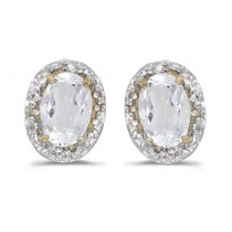 Diamond and White Topaz Earrings 14k Yellow Gold (1.14ct)