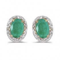 Diamond and Emerald Earrings in 14k Yellow Gold (0.90ct)