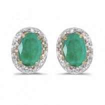 Diamond and Emerald Earrings in 14k Yellow Gold (0.90ct)