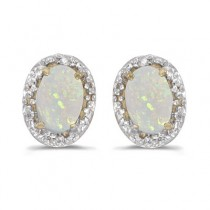 Diamond and Opal Earrings 14k Yellow Gold (1.10ct)