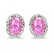 Diamond and Pink Sapphire Earrings 14k Yellow Gold (1.10ct)
