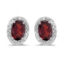 Diamond and Garnet Earrings 14k White Gold (1.10ct)
