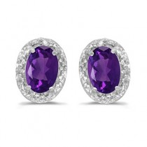 Diamond and Amethyst Earrings 14k White Gold (0.90ct)