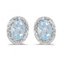 Diamond and Aquamarine Earrings 14k White Gold (0.80ct)