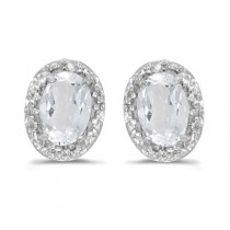 Diamond and White Topaz Earrings 14k White Gold (1.14ct)