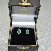 Diamond and Emerald Earrings in 14k White Gold (0.90ct)|escape