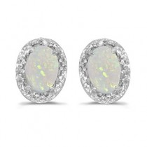 Diamond and Opal Earrings 14k White Gold (1.10ct)