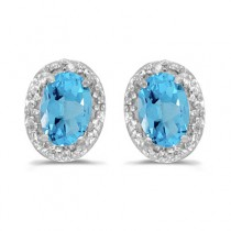 Diamond and Blue Topaz Earrings 14k White Gold (1.14ct)