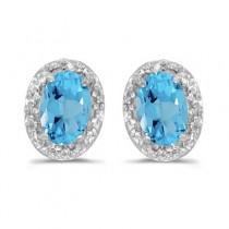 Diamond and Blue Topaz Earrings 14k White Gold (1.14ct)