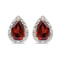 Pear Garnet and Diamond Stud Earrings 14k Yellow Gold (1.70ct)