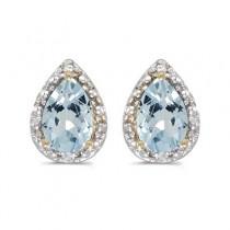 Pear Aquamarine and Diamond Stud Earrings 14k Yellow Gold (1.20ct)