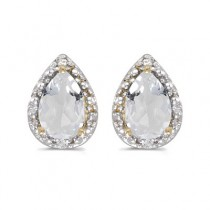 Pear White Topaz and Diamond Stud Earrings 14k Yellow Gold (1.70ct)