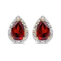 Pear Ruby and Diamond Stud Earrings 14k Yellow Gold (1.50ct)