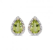 Pear Peridot and Diamond Stud Earrings 14k Yellow Gold (1.70ct)