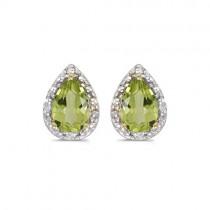 Pear Peridot and Diamond Stud Earrings 14k Yellow Gold (1.70ct)