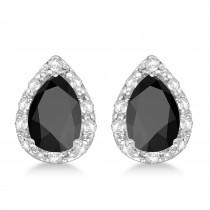 Pear Black Onyx and Diamond Stud Earrings 14k White Gold (1.70ct)