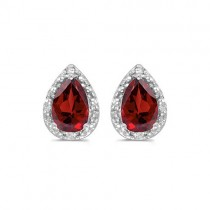Pear Garnet and Diamond Stud Earrings 14k White Gold (1.70ct)