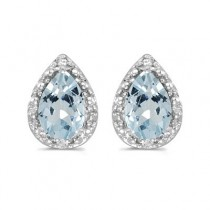 Pear Aquamarine and Diamond Stud Earrings 14k White Gold (1.20ct)