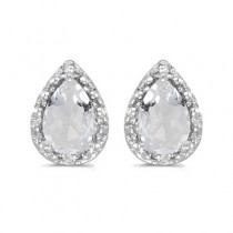 Pear White Topaz and Diamond Stud Earrings 14k White Gold (1.70ct)
