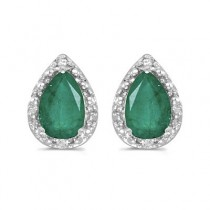 Pear Emerald and Diamond Stud Earrings 14k White Gold (1.40ct)