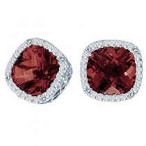 Cushion-Cut Garnet and Diamond Earrings in 14k White Gold
