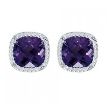 Cushion-Cut Amethyst and Diamond Earrings in 14k White Gold