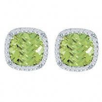 Cushion-Cut Peridot and Diamond Earrings in 14k White Gold|escape