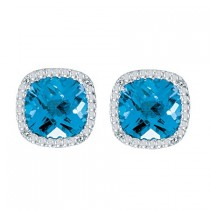 Cushion-Cut Blue Topaz and Diamond Earrings in 14k White Gold