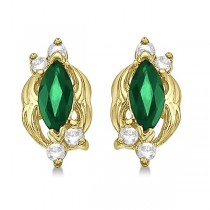 Marquise Emerald & Diamond Stud Earrings in 14K Yellow Gold (0.62ct)